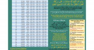 Mahe Ramadan Timetable 2020